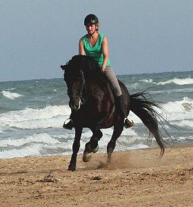 Riding on horse by the Mediterranean